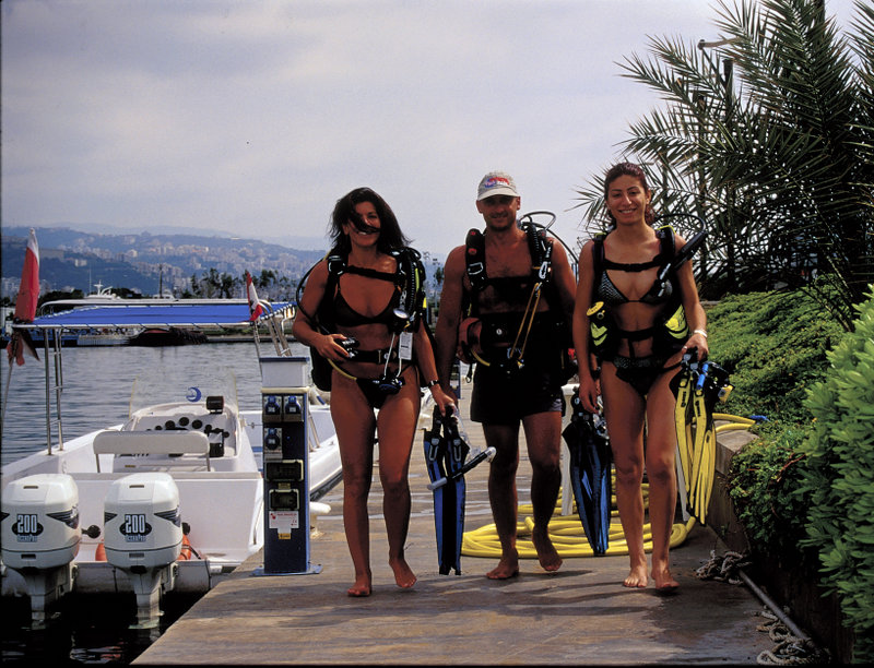 Landscape 11, group of divers walking, in swimsuites,  boat and shore, pic by Peter Driessel